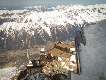 View from the valley of Chamonix and Aiguille du Midi plataform, cable car in France