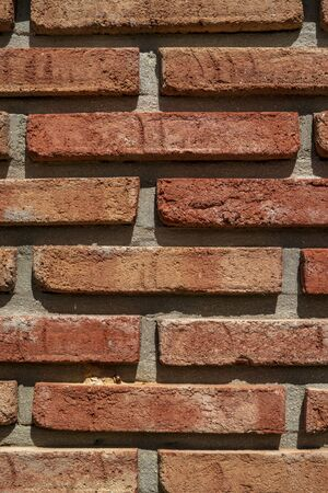 Vertical red brick wall close up texture background