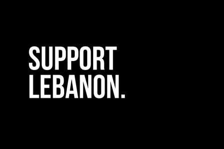 Support Lebanon. Pray for Beirut. White words on black background meaning the need to help the people from Beirut in Lebanon after the explosion. Stock fotó