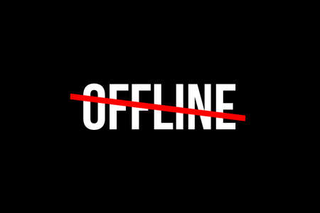 It is good to be offline for a wile and disconnect from the digital world to connect to the real one. Crossed out word with a red line meaning the need to stop spending so much time online. Imagens