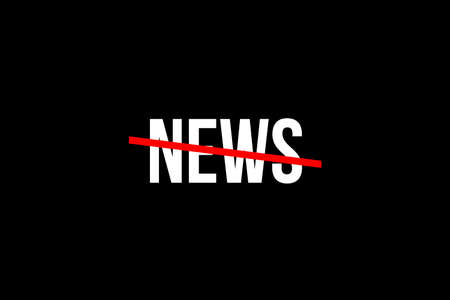 Do not listen to so many news. Crossed out word with a red line meaning the need to stop fake news and information overload Imagens