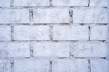 Brickwork background. House or site under construction. Building brick wall structure. White brick wall Archivio Fotografico