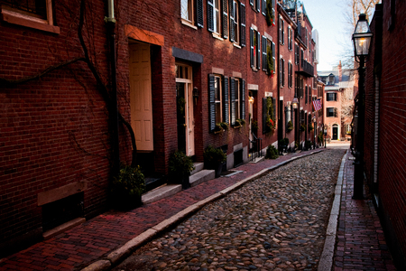 Streets and cobbled houses in the old part of the city of Boston