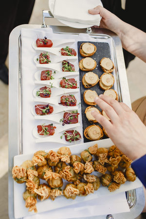 Appetizers of a wedding menu