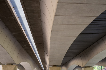Modern concrete bridge beams with geometric shapes in Valencia, Spain