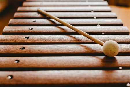 Wooden xylophone in a music classroom