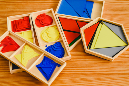 Geometric material in Montessori classroom for the learning of children in mathematics area. 스톡 콘텐츠