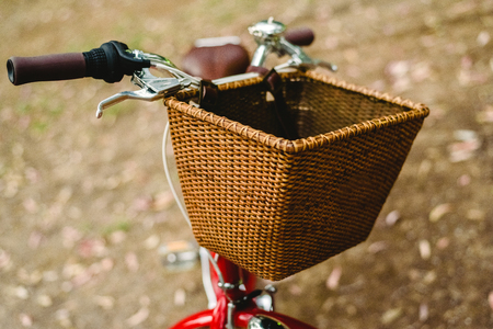 Old red vintage bicycle basket