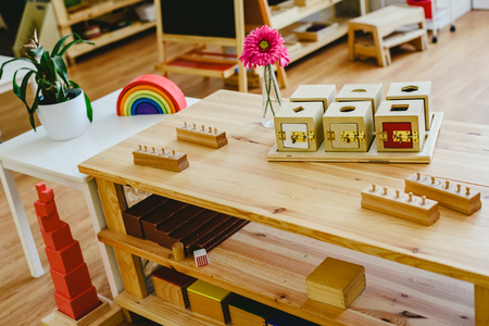 Shelving in a Montessori class with lock boxes 스톡 콘텐츠
