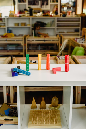 Toys and materials montessori in a classroom of a school for children