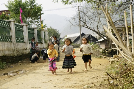Sapa, Vietnam - 27 October 2011: People and children from Sapa, mountainous area of northern Vietnam in their daily life. Editorial