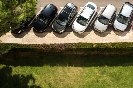 Group of cars parked on the street seen from above Reklamní fotografie