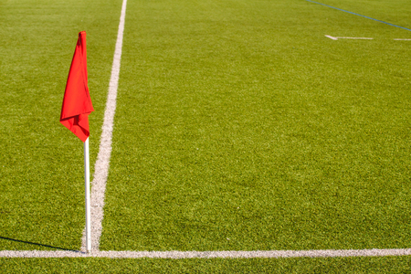 Flags on a soccer field, stop and warning concept