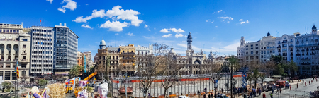 Valencia, Spain - March 7, 2019: Panoramic view of the town hall square in Valencia from one of its balconies, moments before the shot of a mascletá in Fallas.
