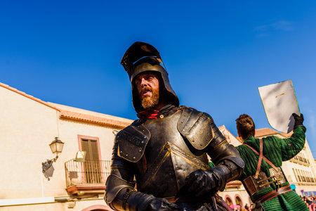 Valencia, Spain - January 27, 2019: Actor disguised as a medieval knight with a beard and ferocious face. Redakční