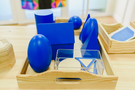 Materials in a classroom for students of Montessori alternative pedagogy.