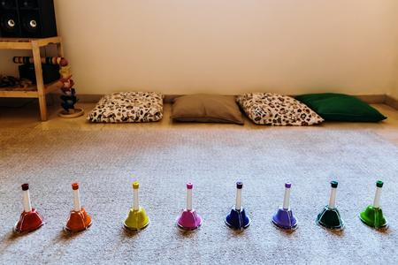 Bells of montessori musical colors to teach music to children. 写真素材