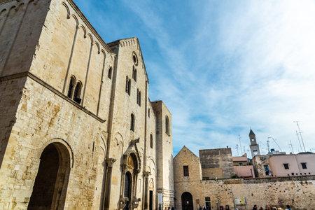 Bari, Italy - March 10, 2019: Facade of the minor basilica of San Nicolas de Bari.