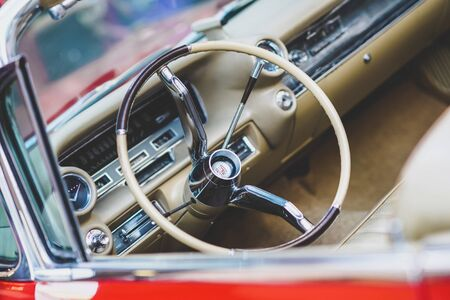 Valencia, Spain - July 21, 2012: Dashboard and steering wheel of a luxury vintage car, an American Mustang. Redakční