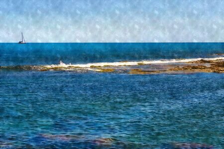 Digitally created oil illustration of a holiday background in the sea with a sailboat in the distance on the horizon. Фото со стока