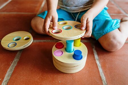 A material of montessori pedagogy, a new style of teaching children in schools around the world, with wooden educational toys.