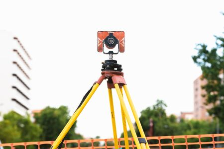 Theodolite in use in an engineering work Stock Photo