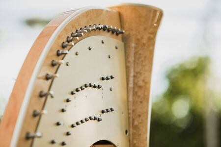 Detail of the strings and mast of a classic harp.