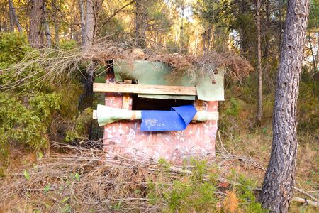 Hidden hunting post camouflaged in a forest. 写真素材
