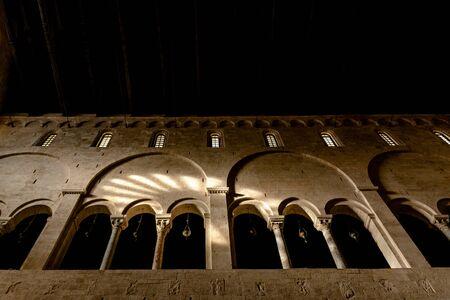 Interior of the main nave of the Cathedral Basilica of San Sabino in Bari. Stock Photo