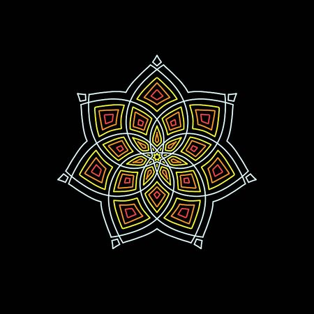 Simple composition of abstract flower with mandala shape and black background.