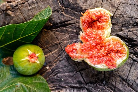 Composition of Mediterranean summer fruit, figs and fig leaves.