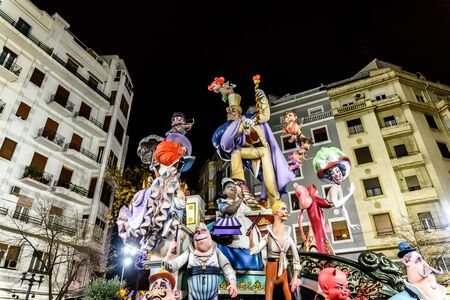 Detail of the beautiful and traditional Fallas, colorful monuments manufactured to be burned in the night of San Jose.