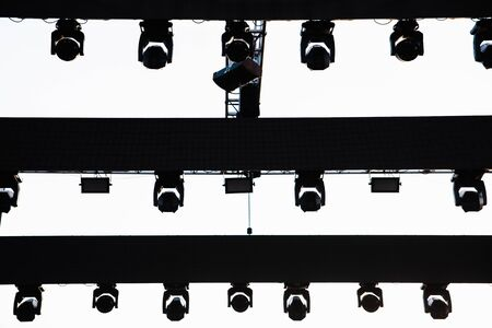 Structure to support the spotlights of a stage before a musical concert outdoors.