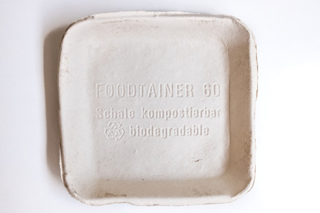 Valencia, Spain - July 25, 20189: Recycled cardboard food container, suitable for composting.