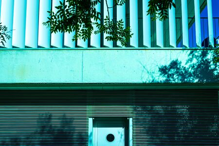 Facade of a modern building illuminated by the sun with gray background. Imagens