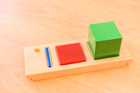 Montessori material inside a classroom of a childrens school.