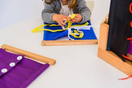 Different types of montessori educational material for use in schools for children in primary and primary school. Zdjęcie Seryjne