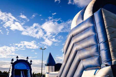 Inflatable castles with fun shapes. Imagens