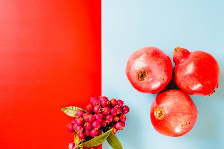Healthy fruits of red colors isolated on flat background.