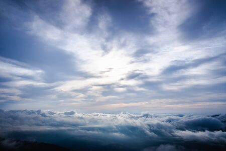 Nice image as a background of cloudy sky in high mountains for nature background.