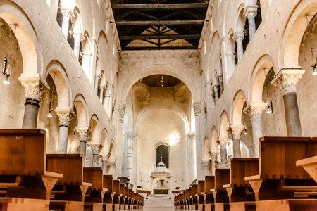 Interior of the main nave of the Cathedral Basilica of San Sabino in Bari. Editorial