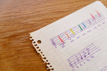 Sheet of a music school with a simple score with the basic notes and the times for children to learn. Stockfoto