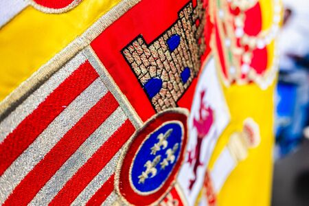 Close-up of the crown of the Spanish flag, macro of the royal design detail. Stok Fotoğraf
