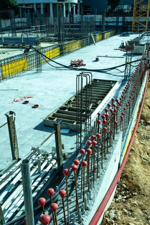 Formwork of the foundations of a building under construction.