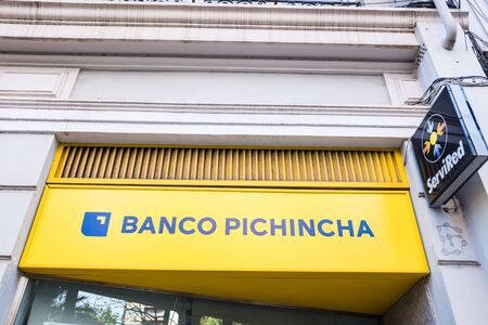 Valencia, Spain - November 24, 2019: Bank Pichincha, with a majority of South American clients.