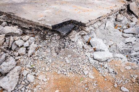 Asphalt of a broken road by maintenance works.