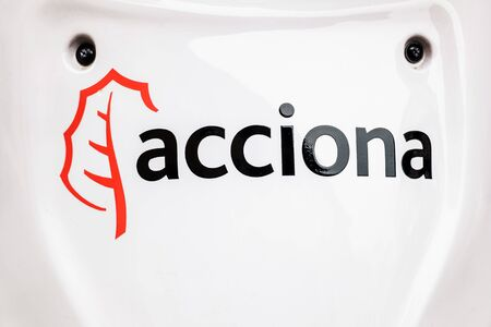 Valencia, Spain - November 26, 2019: Acciona, a Spanish company that develops ecological electric vehicles, as well as car and motorcycle rental systems.