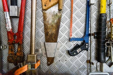 Valencia, Spain - June 8, 2019: Tools carried by a fire truck to solve emergencies. Редакционное