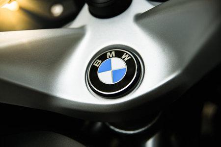 Valencia, Spain - December 1, 2019: Motorcycle BMW brand, german high-end manufacturer.
