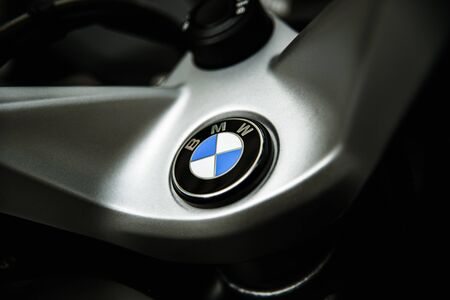 Valencia, Spain - December 1, 2019: Emblem of the BMW vehicle manufacturer, on a high displacement motorcycle.